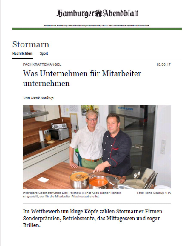 Hamburger Abendblatt Interspare - The lengths companies go to for their employees